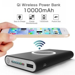 Qi Power Bank 10000mAh , Cargador Inalámbrico Power Bank, batería externa