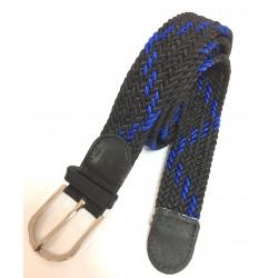 Cinturón elástico trenzado unisex azul y negro