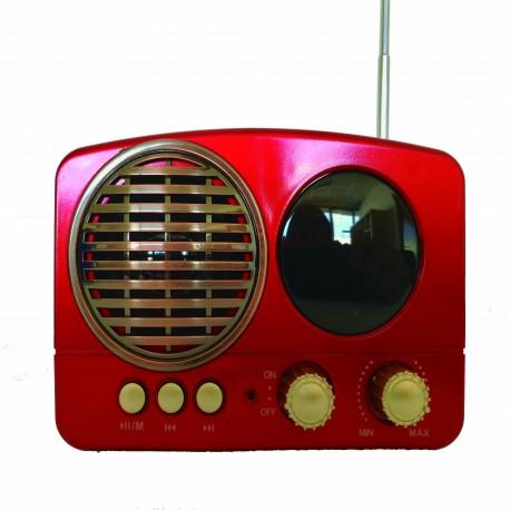 Mini Altavoz radio retro Inalámbrico Bluetooth Portátil entrada Micro SD usb